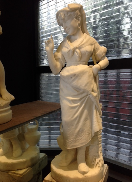Carrera Marble Statue of a Young Woman and Signed C. Lapini,