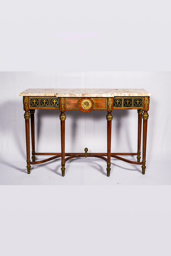 Wooden Console Table With Bronze Mounting