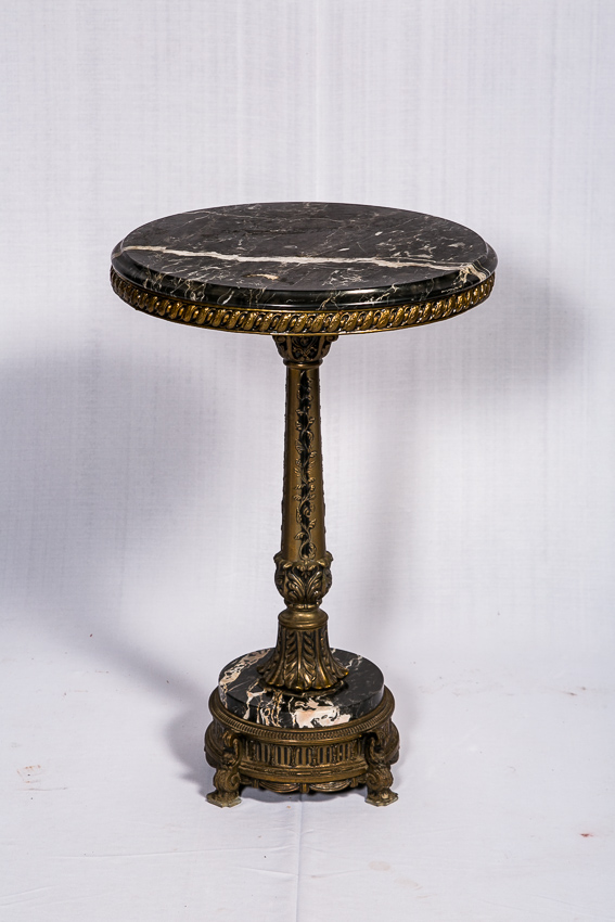 Bronze Center Table With Granite And Brass Mounting