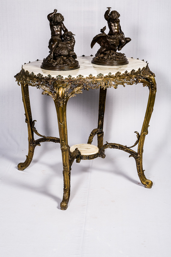French Bronze Table With Marble Top