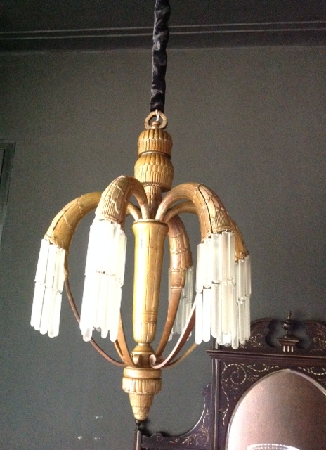 French Art Deco Corbeille Chandelier.