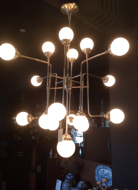 Bistro Globe Milk Glass 17 Light Chandelier