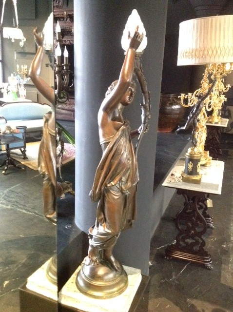 French Bronze Lady Figure, Signed Auguste Clesinger
